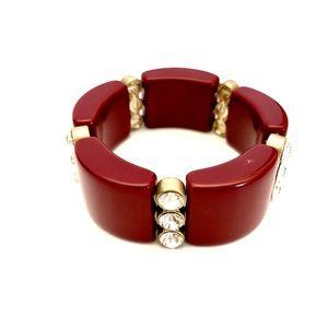 J. CREW burgundy, gold & crystal elastic bracelet